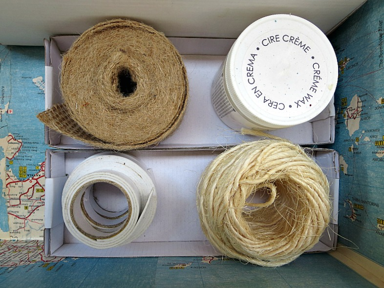Twine and burlap, What's Inside the Vintage Suitcase? www.theboondocksblog.com