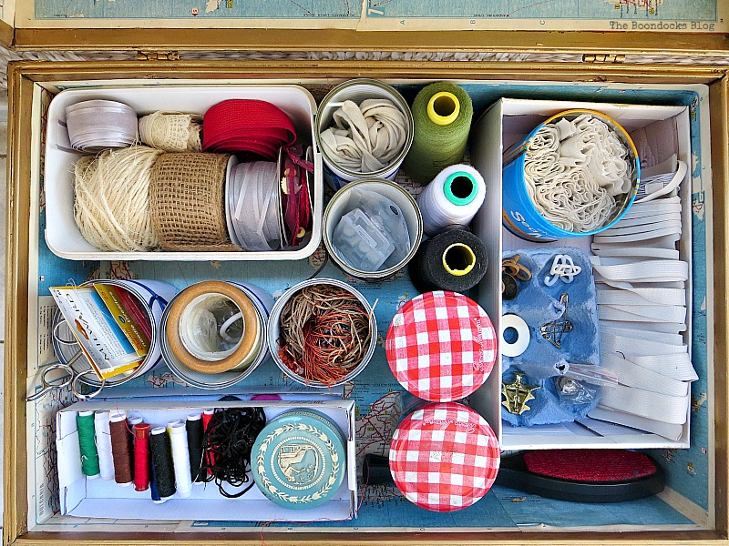 Storing Sewing supplies, What's Inside the Vintage Suitcase? www.theboondocksblog.com