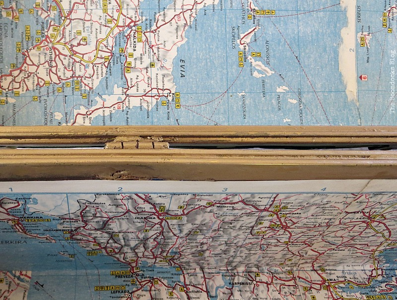 Using 2 old maps of Greece, What's Inside the Vintage Suitcase? www.theboondocksblog.com
