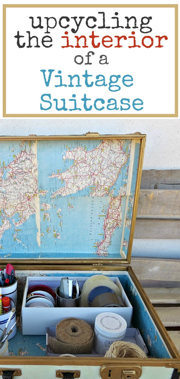 Upcycling the interior of a vintage suitcase #upcycle #repair #metalvintagesuitcase #decoupage #modpdoge #oldmaps #storage #organizing What's Inside the Vintage Suitcase?www.theboondocksblog.com