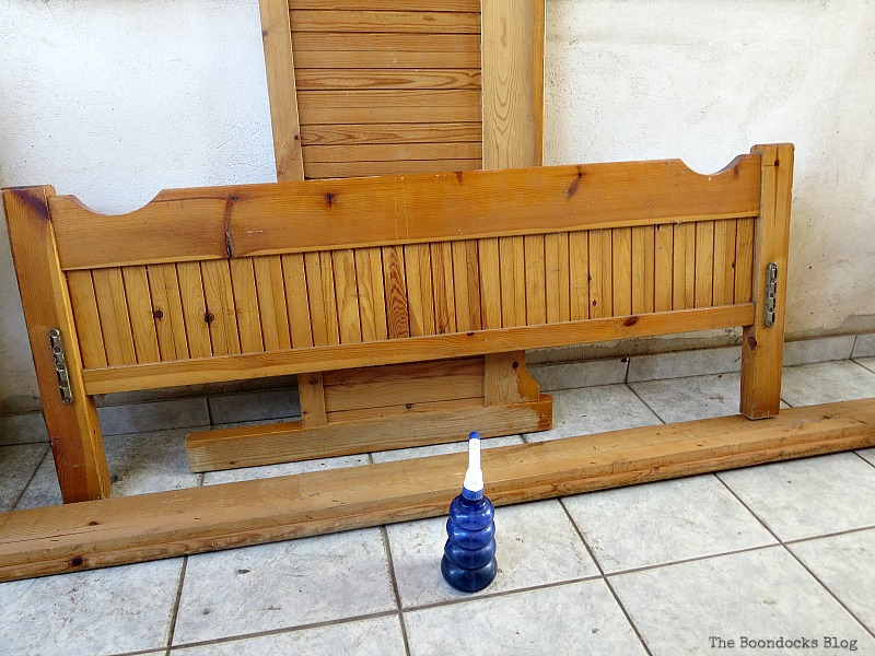 Bedframe before, How to Makeover an Old Wooden Bed Frame www.theboondocksblog.com