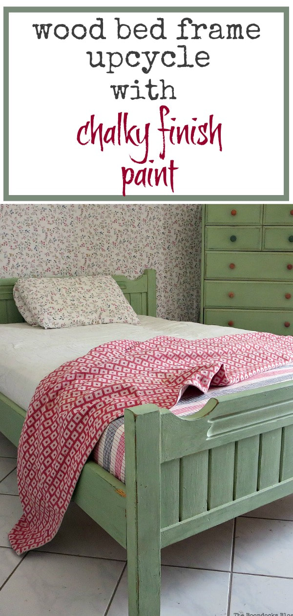 A bed frame painted with DecoArt chalky finish paint to match the Ikea dresser, #furnituremakeover #paintedfurniture #bedmakeover #woodenbed #chalkyfinishpaint #DIYproject #paintproject How to Makeover an Old Wooden Bed Frame www.theboondocksblog.com