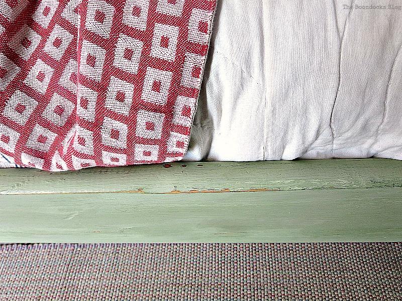 Distressed detail of side of bed frame, How to Makeover an Old Wooden Bed Frame www.theboondocksblog.com