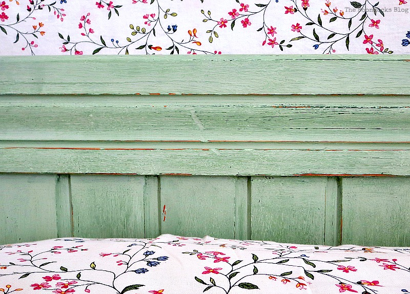 Detail of headboard center, How to Makeover an Old Wooden Bed Frame www.theboondocksblog.com
