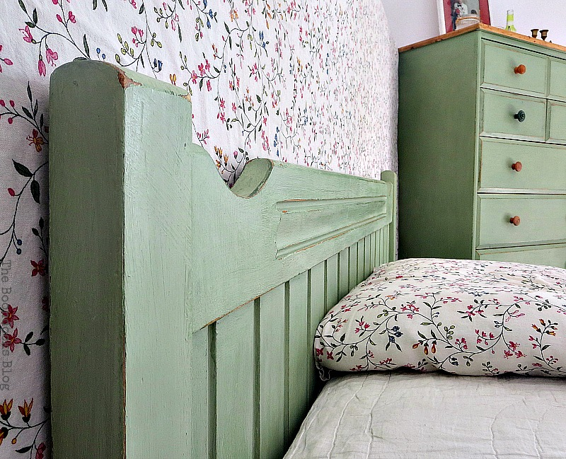 Headboard and dresser in the background, How to Makeover an Old Wooden Bed Frame www.theboondocksblog.com