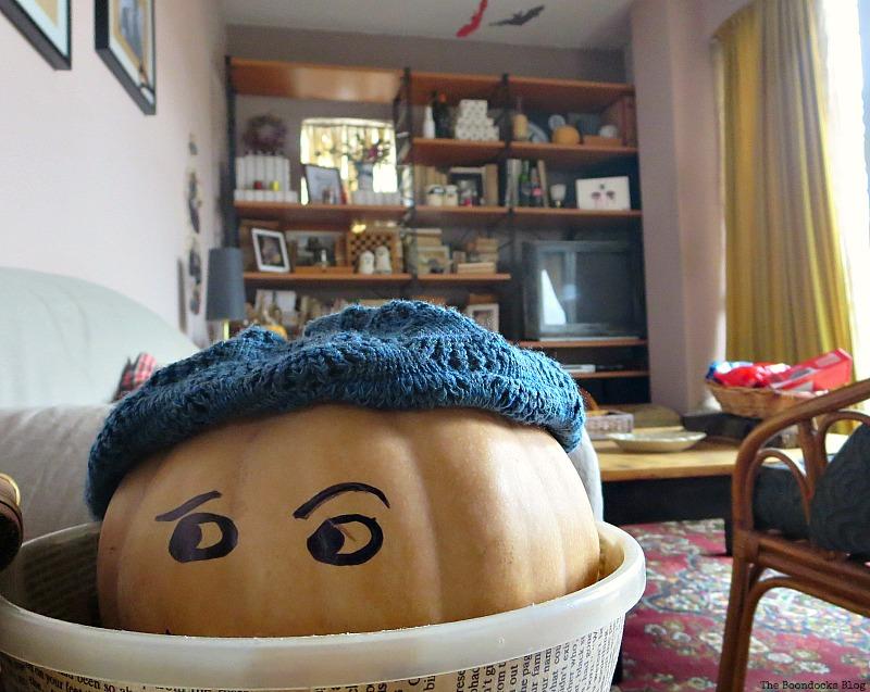 Pumpkin looking upset, Paranoid Man goes to the Halloween Party www.theboondocksblog.com