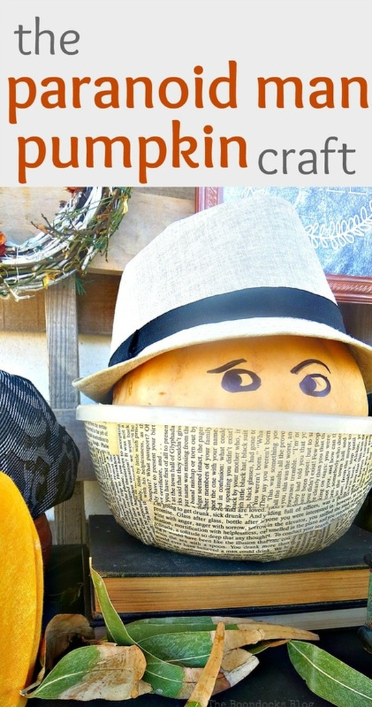 Easy craft with pumpkin wearing fedora in a decoupaged bowl, #pumpkincraft #pumpkinfun #fallcraft #falldecor #funcraft #easycraft #pumpkinface #funnypumpkinface #easypumpkin The Paranoid Man Pumpkin Craft www.theboondocksblog.com