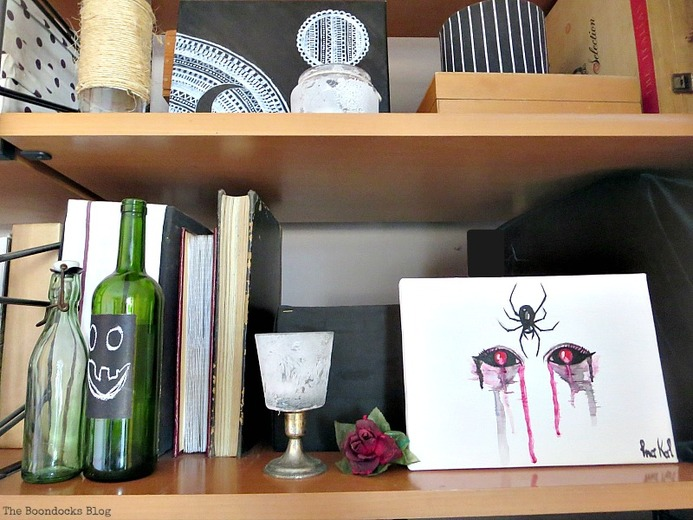 Artwork by Ina the Tea Lady Halloween Wall Unit Decor www.theboondocksblog.com