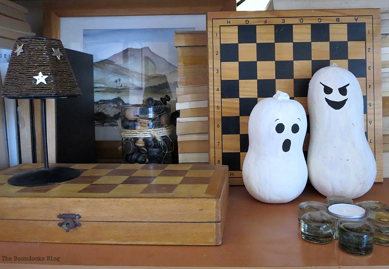 The painted gourds, Halloween Wall Unit Decor www.theboondocksblog.com