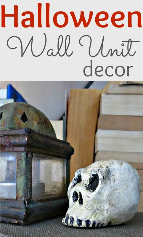 How I decorated my wall unit in preparation for a Halloween party, Halloween Wall Unit Decor www.theboondocksblog.com