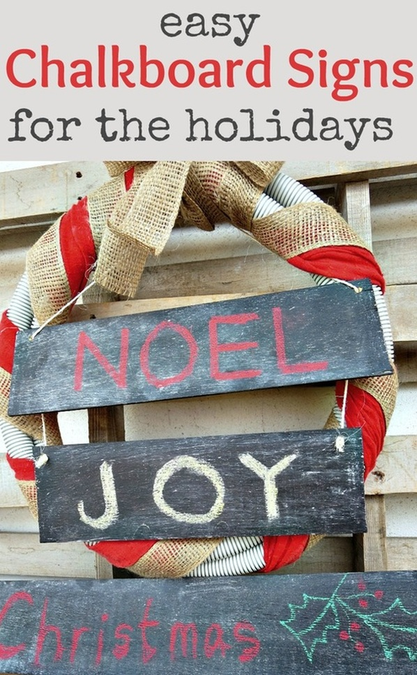 How to reuse signs for the holidays with chalkboard paint, Easy Chalkboard signs for the Holidays www.theboondocksblog.com