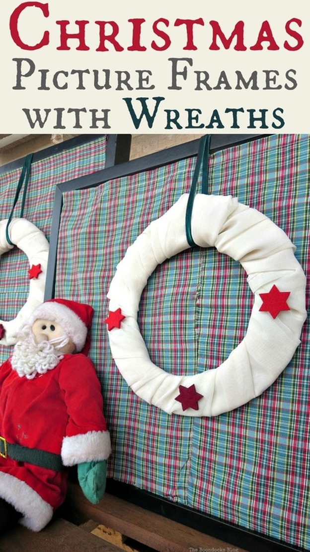 How to upcycle your Picture frames for Christmas the lazy way by adding wreaths and fabric, Christmas Picture Frames with Wreaths the Lazy Way www.theboondocksblog.com
