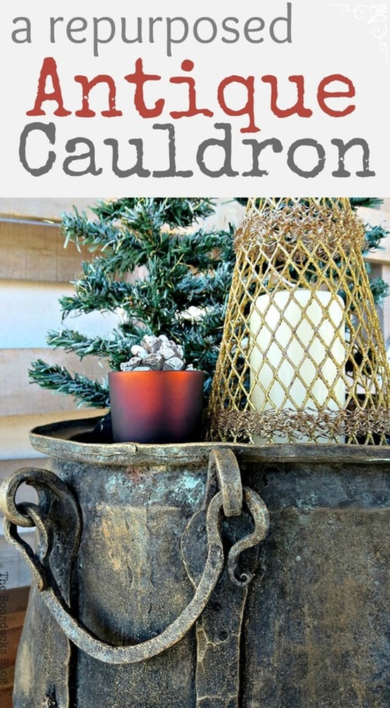 a repurposed antique cauldron for Christmas, theboondocksblog