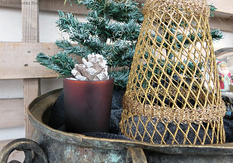 red votive, A repurposed Antique Cauldron for Christmas theboondocksblog