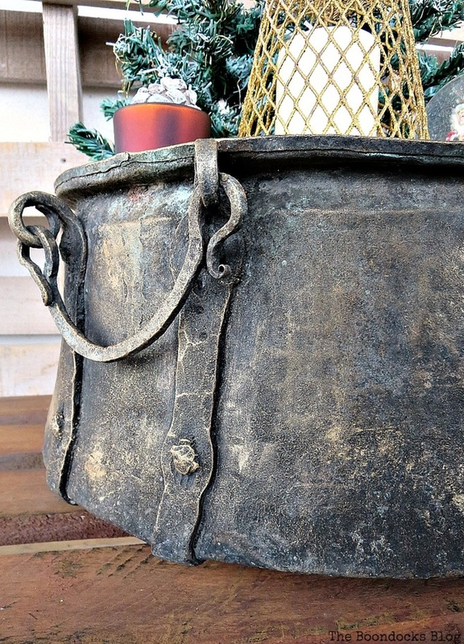 Cauldron handle, A repurposed Antique Cauldron for Christmas theboondocksblog