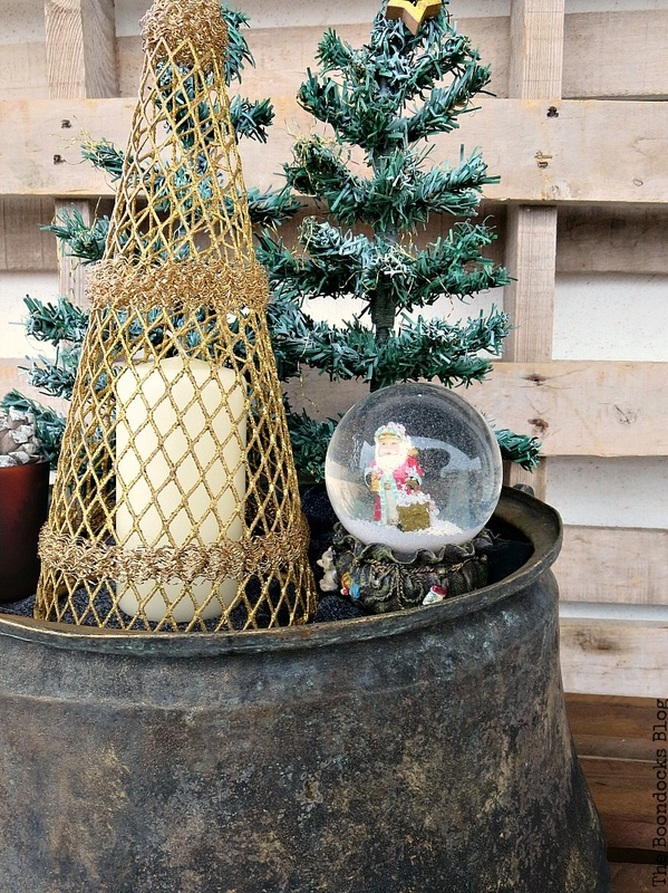 Trees with snow, A repurposed Antique Cauldron for Christmas theboondocksblog