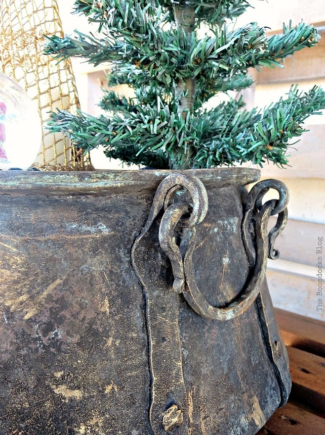Detail of handle and patina on antique cauldron, A repurposed Antique Cauldron for Christmas theboondocksblog