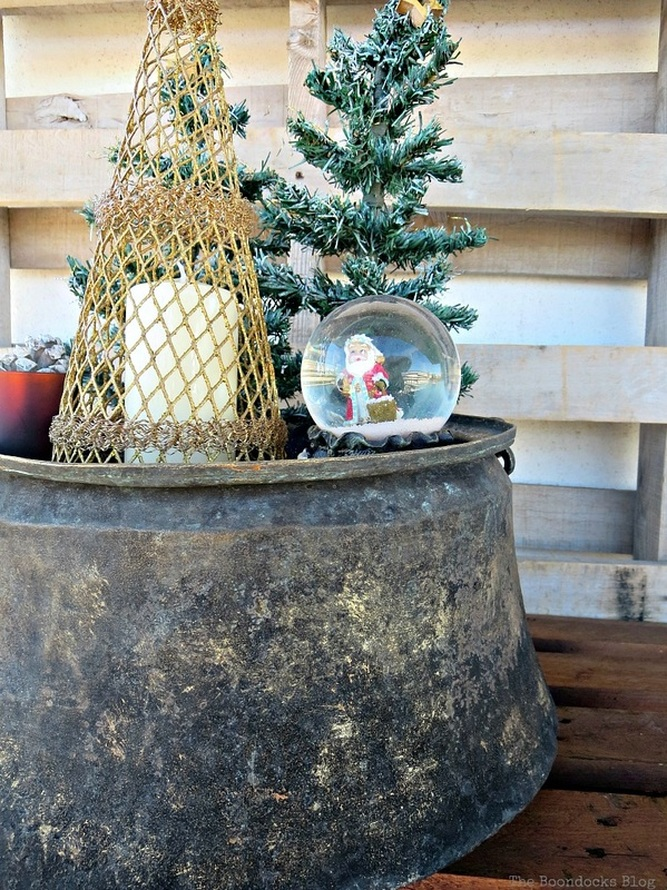 The shine of the antique cauldron with patina, A repurposed Antique Cauldron for Christmas theboondocksblog