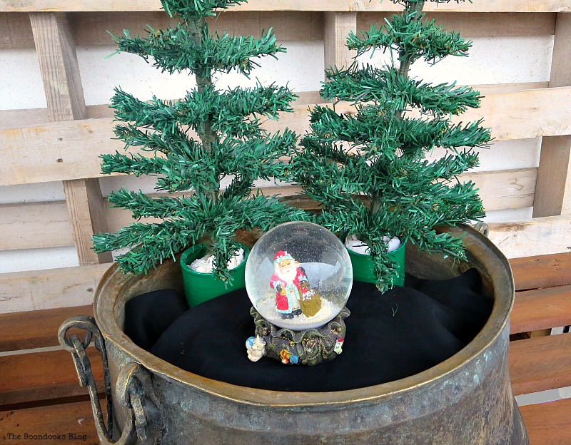 Adding trees and a snow globe, A repurposed Antique Cauldron for Christmas theboondocksblog