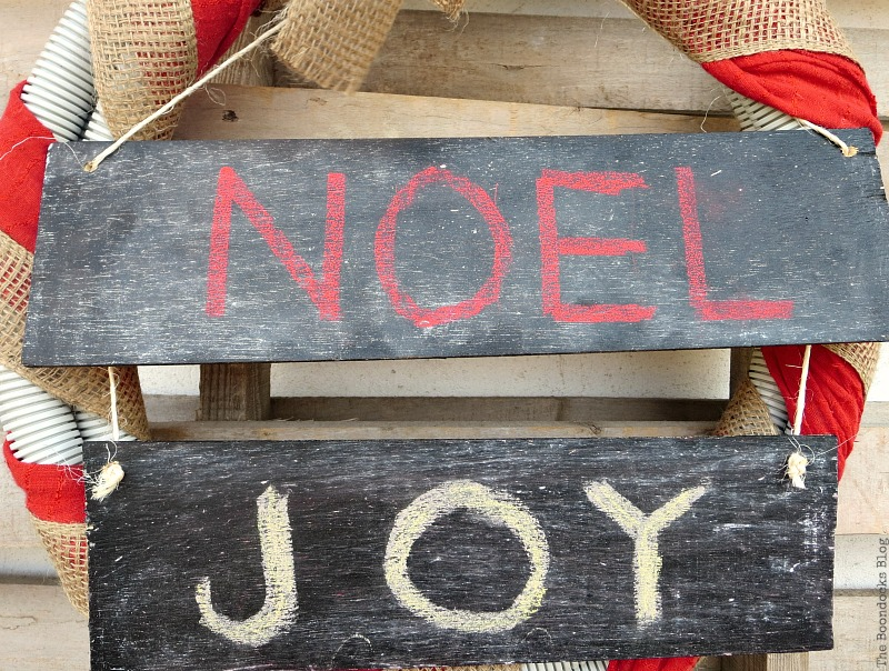 One sign cut into two pieces, Easy Chalkboard signs for the Holidays www.theboondocksblog.com