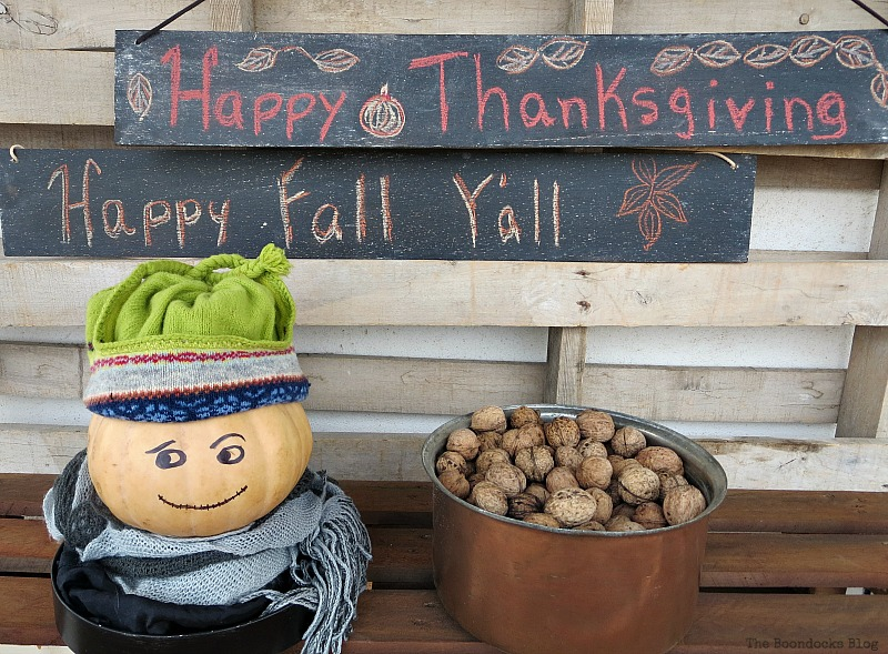 Two fall signs, Easy Chalkboard signs for the Holidays www.theboondocksblog.com