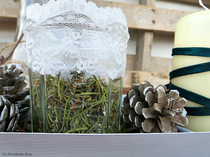 Detail of jar with rosemary flowers, Easy Green Christmas Centerpiece www.theboondocksblog.com