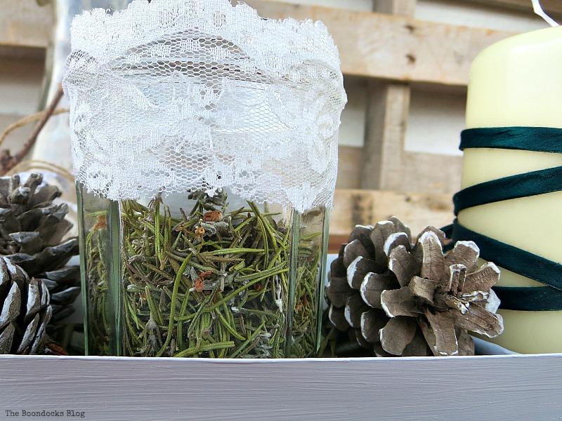 Detail of jar with rosemary flowers, Easy Green Christmas Centerpiece www.theboondocksblog.com