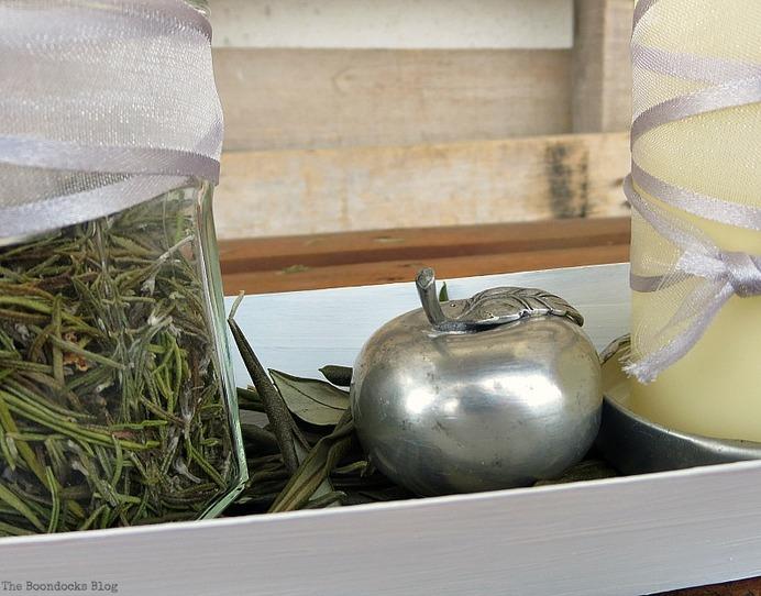 A metal apple salt shaker, Easy Green Christmas Centerpieces www.theboondocksblog.com