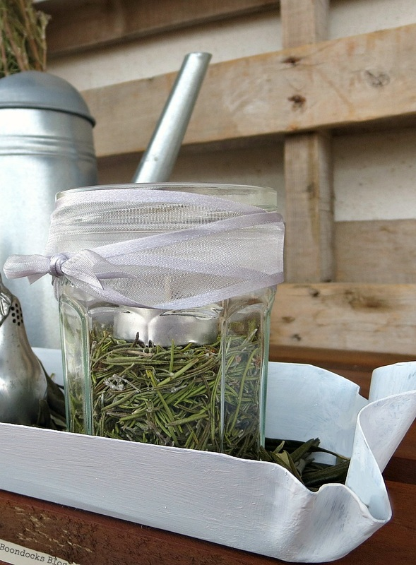 Detail of jar with tealight and rosemary, Easy Green Christmas Centerpieces www.theboondocksblog.com