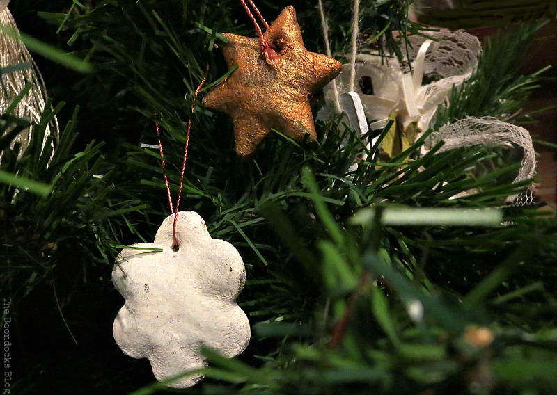 White and copper dough ornaments, How to Upcycle your Christmas Tree on the cheap, www.theboondocksblog.com