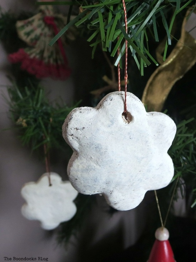 White dough ornament, How to Upcycle your Christmas Tree on the cheap, www.theboondocksblog.com