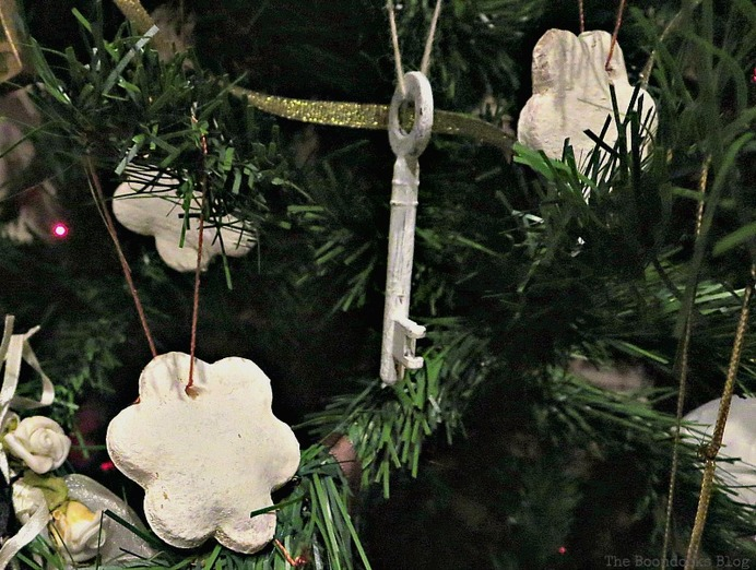White dough ornaments and white painted keys, How to Upcycle your Christmas Tree on the cheap, www.theboondocksblog.com