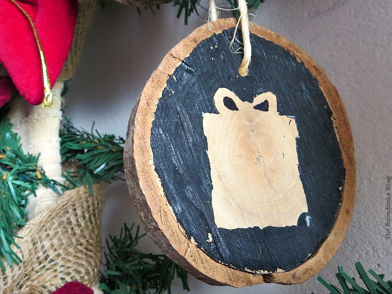 A wood slice of a present, Christmas Traditions in Greece, Int'l Bloggers Club www.theboondocksblog.com