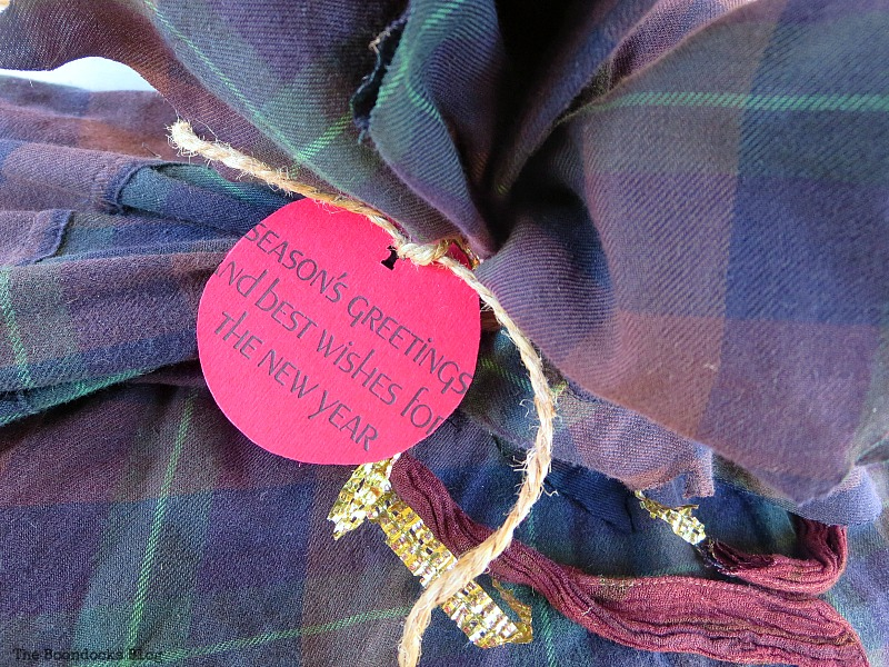 Repurposed flannel shirt into gift wrapping, How to Repurpose vintage fabric for gift wrapping, the boondocksblog.com