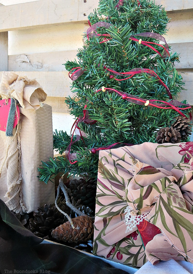 How to add color and fun to gift wrapping, How to Repurpose vintage fabric for gift wrapping, the boondocksblog.com
