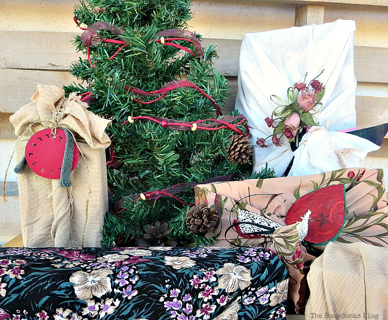 Using all types of fabrics with different patterns, How to Repurpose vintage fabric for gift wrapping, the boondocksblog.com