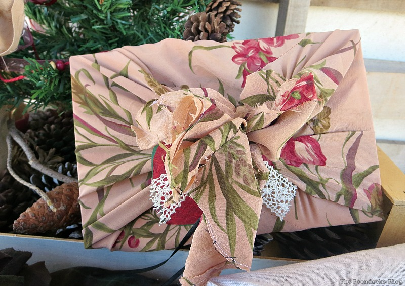 Vintage fabric repurposed from a dress and lace to wrap gift, How to Repurpose vintage fabric for gift wrapping, the boondocksblog.com