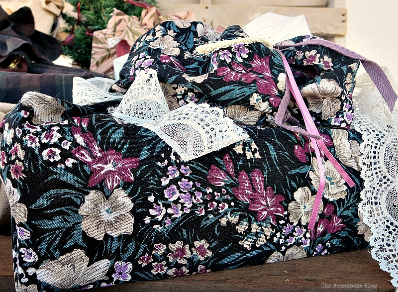 Lace repurposed from a child's dress, How to Repurpose vintage fabric for gift wrapping, the boondocksblog.com
