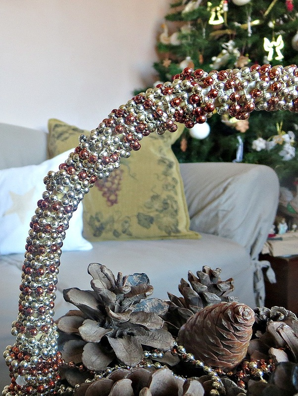 Detail of beaded handle on basket, How to Repurpose your Decor for a Unique Christmas Look www.theboondocksblog.com