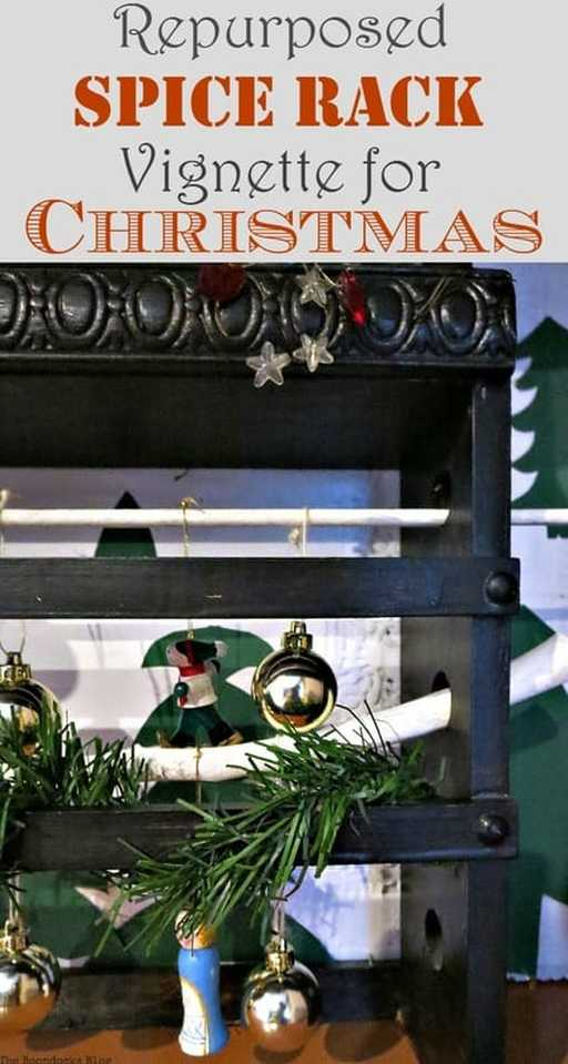 What to do with leftover ornaments? A Repurposed Spice Rack vignette for Christmas, www.theboondocksblog.com