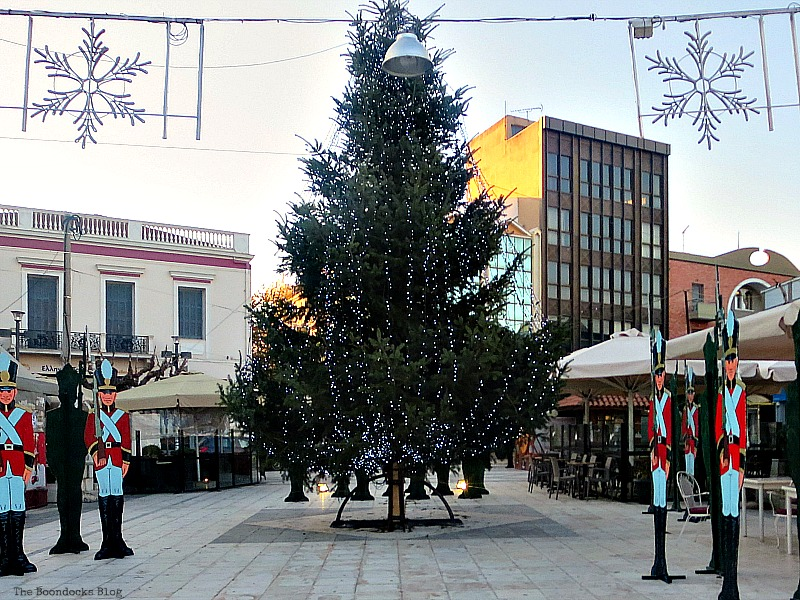 Big tree in the town square, Christmas Traditions in Greece, Int'l Bloggers Club www.theboondocksblog.com