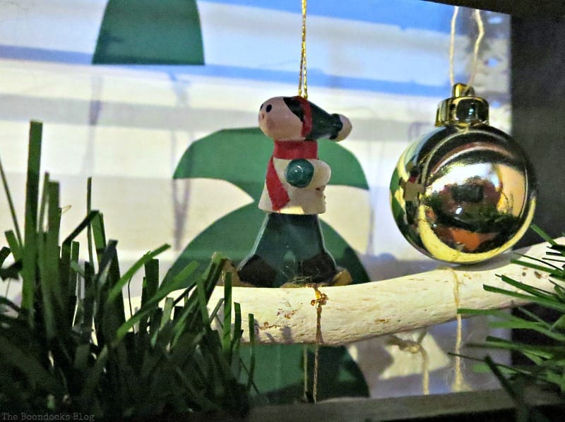 Closeup, A Repurposed Spice Rack vignette for Christmas, www.theboondocksblog.com