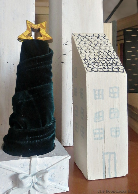 wooden house and velvet Christmas tree, How to Repurpose your Decor for a Unique Christmas Look www.theboondocksblog.com