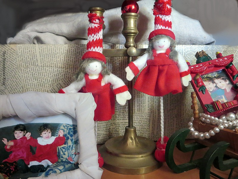 picture frames with kids, and felt dolls, How to Repurpose your Decor for a Unique Christmas Look www.theboondocksblog.com