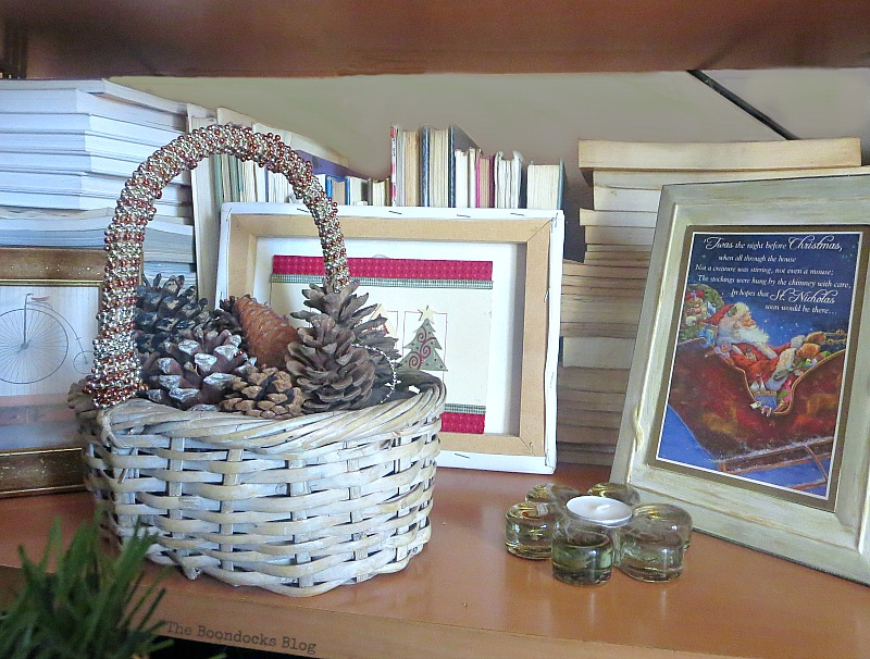 Basket with beaded garland wrapped around handle, How to Repurpose your Decor for a Unique Christmas Look www.theboondocksblog.com