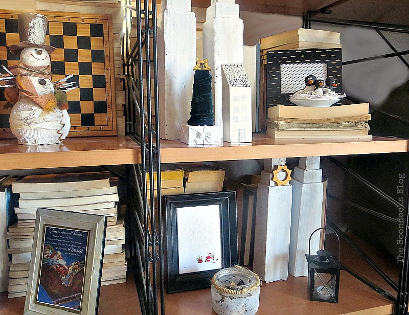 Wall unit shelves with decor, How to Repurpose your Decor for a Unique Christmas Look www.theboondocksblog.com