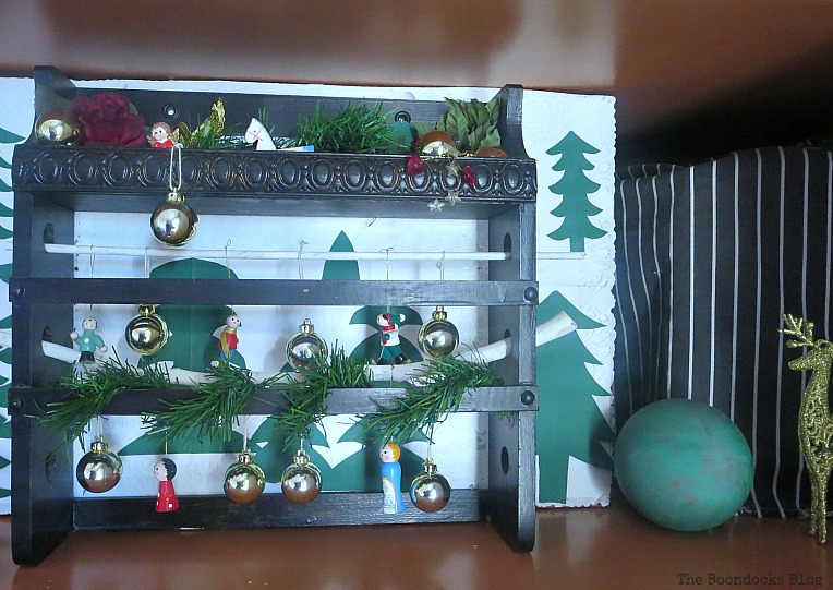 Old spice rack repurposed as vignette, How to Repurpose your Decor for a Unique Christmas Look www.theboondocksblog.com