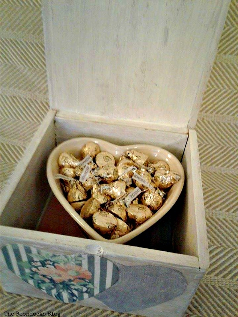 chocolates inside of heart shaped bowl in wooden box, Valentine's Day Wooden Gift Box www.theboondocksblog.com