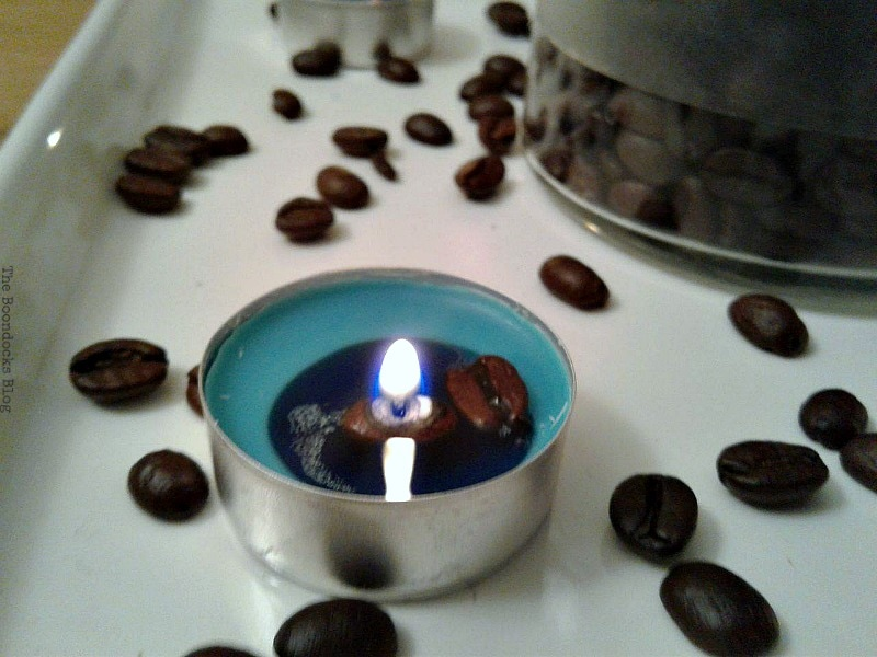 beans melting into the tealight, Coffee with Tealights please www.theboondocksblog.com