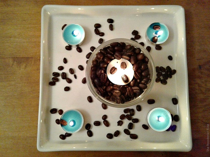 overhead view, Coffee with Tealights please www.theboondocksblog.com